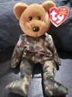 TY Beanie Buddy Bear Hero Army Bear Green Camo American Flag Hard To Find
