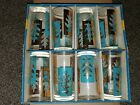 VINTAGE LIBBEY GLASS DRINKING HOSTESS SET MID CENTURY TURQUOISE GOLD LEAF 8