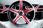 17 Wheels Volvo S40 V40 Prius Corolla Cooper Miata Civic Black Red Rims 4 Lugs