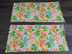 2 Vintage 60s FLOWER POWER Retro Mod Terry Cloth Sewing Fabric 44 X 20 Remnants