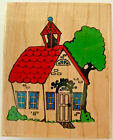 IMPRESSIVE STAMPS School House Rubber Stamp F366 Wood Mounted