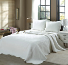 Mael White Scalloped Edge Reversible Cotton Quilt Set Bedspreads Coverlet