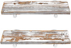 Floating Shelves Wood Wall Mounted 24 x 7 x 12 Sturdy Surface Rustic White