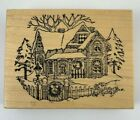 1988 PSX Christmas Victorian House Wood Mounted Rubber Stamp K 347