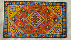 Vtg Dollhouse Miniature Artisan Carpet Rug Micro Bead Native American Design