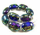DICHROIC Glass Link Bracelet Silver Oval Multicolored Rainbow Striped 15mm 75