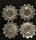4 Federal Glass Petal Pattern Small Plates 6 1/2 in.Clear