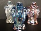Fenton Glass Ice Blue Iridized Angel With Hand Painted Flowers  Floral