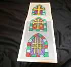 Cross stained glass arch three needlepoint canvas only Christian