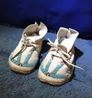 Vintage handmade Leather Beaded Native Moccasins Youth Size