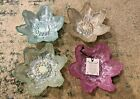 Set of 4 Akcam Sunflower Dessert Glass Bowls Pastel Iridescent Made in Turkey