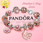 Authentic Pandora Bracelet Silver with Rose Gold MOM Pink Flower European Charms