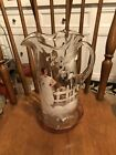 Antique 10 Hand Painted Clear Glass Pitcher Mary Gregory