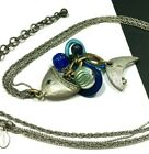 CHICOS Blue Glass FISH Pendant Necklace Enamel Crystal LONG Silver Chain HH4M