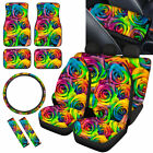 Rainbow Rose Car Seat Covers Full Set For Women Floor Matssteering Wheel Cover
