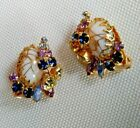 HOBE Signed Glass Gold Spaghetti Pink  Blue Rhinestone Clip On Earrings