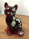 Vintage Fenton Art Glass Ruby Red Cat Figurine