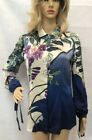 Roberto Cavalli Silk Long sleeves Blouse Multicolor Floral Size 6 Fabric Sign
