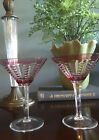 Pair Red Pink Hand Cut Crystal Martini Cocktail Glasses Made In Hungary New