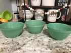 Anchor Hocking Fire King Rainbow Fired On Green Jadeite SET OF THREE Cereal Bowl