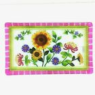 Ganz Rectangle Multi colored Glass Tray Serving Plate Floral 9 1 2 x 16 in Gift