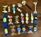 20 Vintage Murano Italy Hand Blown Glass Candy Lollipop Pieces PERFECT