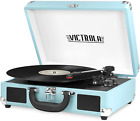 Record Player Vintage Bluetooth Portable Suitcase Built in Speakers Victrola
