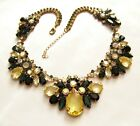 Glamorous CZECH Yellow Black Aurora Borealis Rhinestone Glass Necklace