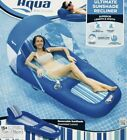 Aqua Oversized Deluxe Inflatable Pool Lounger Float With Sunshade Canopy