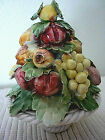Vintage Ceramic Fruit Flower Bouquet Italian Italy 5 x 4 Capodimonte Chips