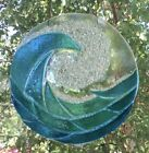 Stained Glass Turquoise Blue Ocean Waves Handmade Window Panel