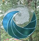 Stained Glass Turquoise Blue Ocean Waves Handmade Fused Window Panel Suncatcher