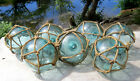 Japanese Glass Fishing Floats 35 Lot 7 Aqua Matching Unique Nets Antique