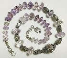 Vintage Bali Antique Style Sterling Silver Necklace with Pink Amethyst