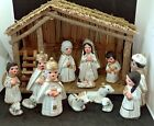 Nativity Set Made in Mexico 14 Pieces With Stable White and Gold