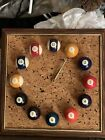 Vintage 1980 Pool Ball Billiards Hanging Battery Powered Wall Clock VERY CLEAN