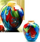 FLORAL FANTASIA ART GLASS JUG SHAPED VASE  Individually Hand Crafted  NIB