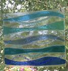 Abstract Stained Glass Turquoise Ocean Waves Handmade Window Panel Suncatcher