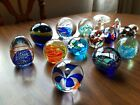 16 VTG Art Glass Paperweights Floral Swirls Bubbles Eggs Birds Fish Waves Sea