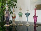 5 LARGE Egyptian Hand Blown Perfume Bottles Pyrex Glass 7 8 inches tall