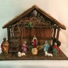 Vintage Creche Nativity Set Preset Painted Plaster Figures Italy Christmas