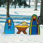 Christmas Outdoor Yard Decorations Nativity Scene Holy Family Set Yard Stakes