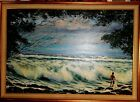 NUDE NATIVE FISHES IN RAGING HAWAIIAN OCEAN WHITE SAND PT KONA 1987