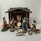 Vintage Nativity Set w 16 Figures  Creche Italy Papier Mache Hand Painted