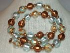 JCM Murano Glass Foil Marble 14K 585 Gold Beads Necklace Italy
