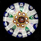 Strathearn Millefiori  Latticino Concentric 10 Spoke Paperweight Art Glass