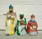 Vintage Blow Molds Three 3 Wise Men Kings Lighted Nativity Christmas
