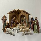 Vintage M Landi Nativity Set 13 Figures w Crche Made in Italy Injected Plastic