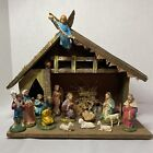 Vintage Nativity Set w 18 Figures  Creche Hand Painted Composition Made Italy