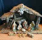 Scarce Large 10 Musical Wooden Nativity 12 Pc Italy Silent Night Unbreakable